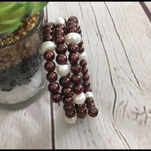 Jewelry - Brown and White Multi Strand Pearl Bracelet